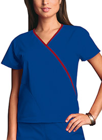 Cherokee Workwear Mini Mock Wrap Top Galaxy Blue (4800-GABW)