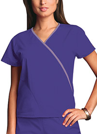 Cherokee Workwear Mini Mock Wrap Top Grape (4800-GRPW)