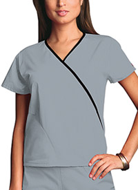 Cherokee Workwear Mini Mock Wrap Top Grey (4800-GRYW)