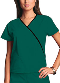 Cherokee Workwear Mini Mock Wrap Top Hunter (4800-HUNW)