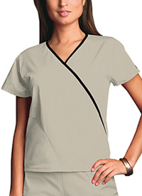 Cherokee Workwear Mini Mock Wrap Top Khaki (4800-KAKW)