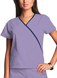 Cherokee Workwear Mini Mock Wrap Top Orchid (4800-ORCW)