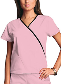 Cherokee Workwear Mini Mock Wrap Top Pink Blush (4800-PKBW)