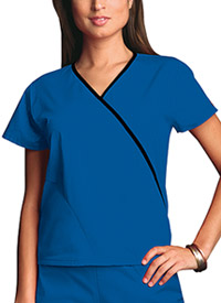 Cherokee Workwear Mini Mock Wrap Top Royal (4800-ROYW)