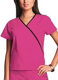 Cherokee Workwear Mini Mock Wrap Top Shocking Pink (4800-SHPW)