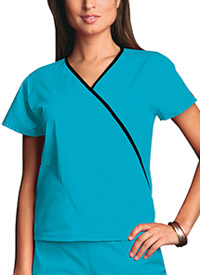 Cherokee Workwear Mini Mock Wrap Top Turquoise (4800-TRQW)