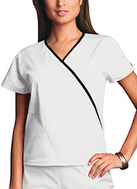 Cherokee Workwear Mini Mock Wrap Top White (4800-WHTW)