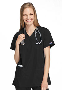 Cherokee Workwear Mock Wrap Tunic Black (4801-BLKW)