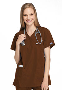 Cherokee Workwear Mock Wrap Tunic Chocolate (4801-CHCW)