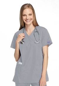 Cherokee Workwear Mock Wrap Tunic Grey (4801-GRYW)
