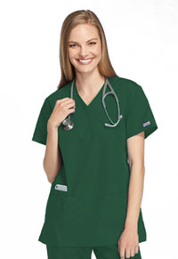 Cherokee Workwear Mock Wrap Tunic Hunter (4801-HUNW)