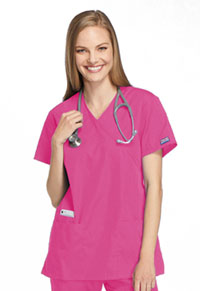 Cherokee Workwear Mock Wrap Tunic Shocking Pink (4801-SHPW)