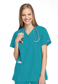 Cherokee Workwear Mock Wrap Tunic Teal Blue (4801-TLBW)