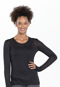 Cherokee Workwear Long Sleeve Underscrub Knit Tee Black (4823-BLKW)