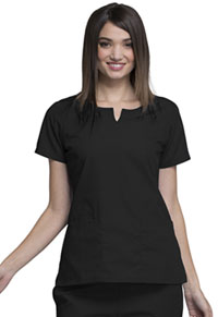 Cherokee Workwear Round Neck Top Black (4824-BLKW)