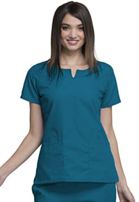 Cherokee Workwear Round Neck Top Caribbean Blue (4824-CARW)