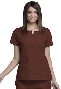 Cherokee Workwear Round Neck Top Chocolate (4824-CHCW)