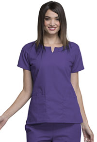 Cherokee Workwear Round Neck Top Grape (4824-GRPW)