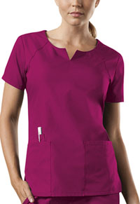 Cherokee Workwear Round Neck Top Raspberry (4824-RASW)