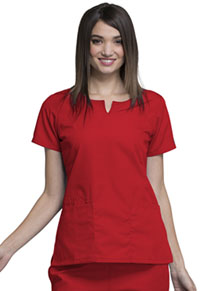 Cherokee Workwear Round Neck Top Red (4824-REDW)