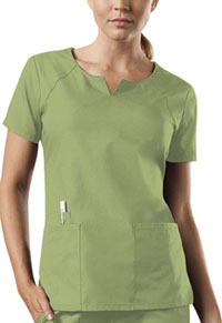 Cherokee Workwear Round Neck Top Sage Green (4824-SAGW)