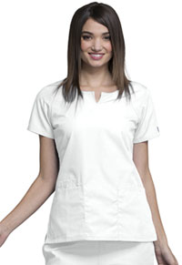 Cherokee Workwear Round Neck Top White (4824-WHTW)