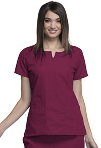 Cherokee Workwear Round Neck Top Wine (4824-WINW)