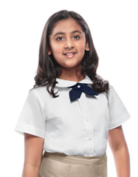 Classroom Girls Short Sleeve Peter Pan Blouse (57322-WHT) (57322-WHT)