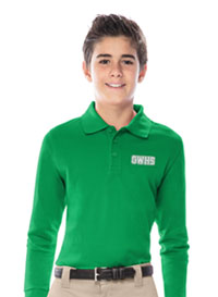 Classroom Uniforms Youth Unisex Long Sleeve Pique Polo Kelly Green (58352-KGRN)