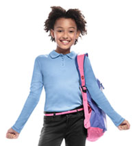Classroom Uniforms Girls Long Sleeve Fitted Interlock Polo Light Blue (58542-LTB)