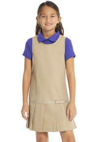 Real School Uniforms Drop Waist Jumper w/Ribbon Bow Khaki (64232-RKAK)