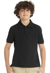 Real School Uniforms Short Sleeve Pique Polo Black (68112-RBLK)