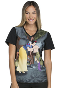 Tooniforms V-Neck Knit Panel Top Dopey's Kiss (6834CB-PREY)