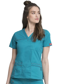 Dickies V-Neck Top Teal (817455-DTLZ)