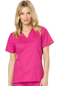 Dickies V-Neck Top Hot Pink (817455-HPKZ)