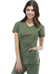 EDS Signature Stretch Mock Wrap Top (85954A-OLWZ) (85954A-OLWZ)