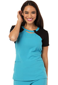 Careisma Round Neck Top Aqua Rush (CA606-AQBK)