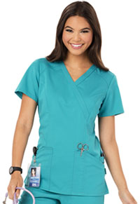 Code Happy Mock Wrap Top Teal Blue (CH601A-TLB)