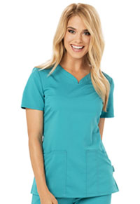 Code Happy V-Neck Top Teal Blue (CH602A-TLB)