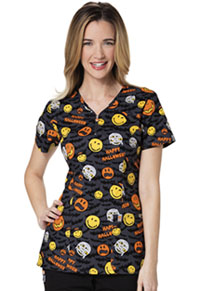 Code Happy V-Neck Top Bats About Halloween (CH613X14A-SYBT)