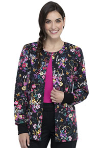 Cherokee Snap Front Warm-up Jacket Bouquets Of Hope (CK301-BQOH)