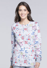 Cherokee Snap Front Warm-up Jacket Nurses Are Owl-some (CK301-NSOL)