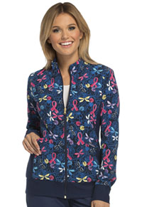 Cherokee Zip Front Knit Panel Jacket Flying For A Cure (CK308-FYCR)