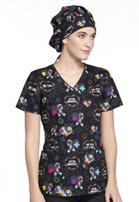 Cherokee Unisex Bouffant Scrub Hat Love You To Pieces (CK501-LVPC)
