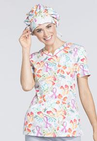 Cherokee Unisex Bouffant Scrub Hat Springtime Love (CK501-SGLV)
