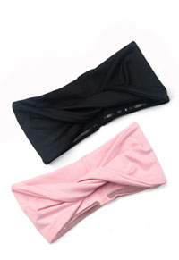 Cherokee So Twisted Headband - 2 pc pack Rose Blossom & Black Combo (CK506-RBSBLK)