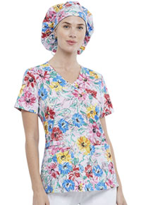Cherokee Unisex Bouffant Scrubs Hat Watercolor Blossoms (CK514-WABS)