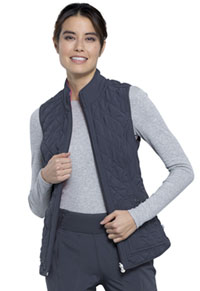 Cherokee Reversible Quilted Vest Pewter / Carmine Pink Combo (CK530A-PWCP)