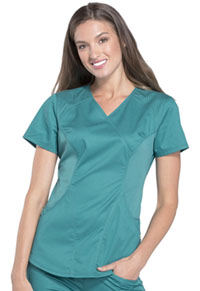 Cherokee Mock Wrap Top Teal (CK603-TEAV)