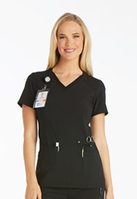 iFlex V-Neck Knit Panel Top (CK605-BLK) (CK605-BLK)